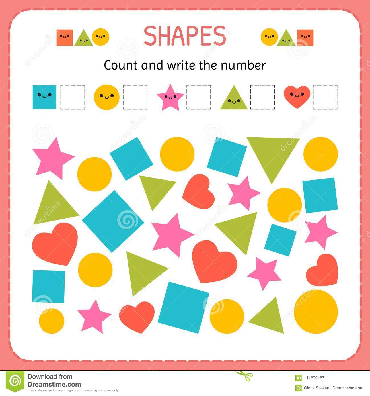 Count And Write The Number Learn Shapes And Geometric Figures Preschool Or Kindergarten