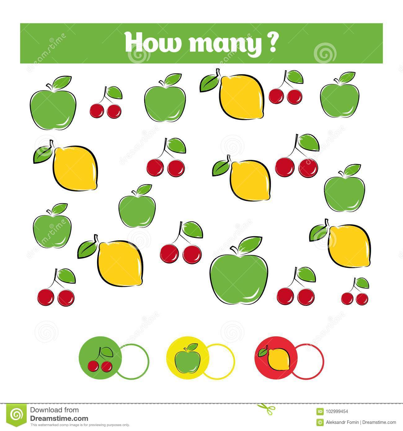 Counting Educational Children Game Kids Activity Sheet How Many Objects Task Learning