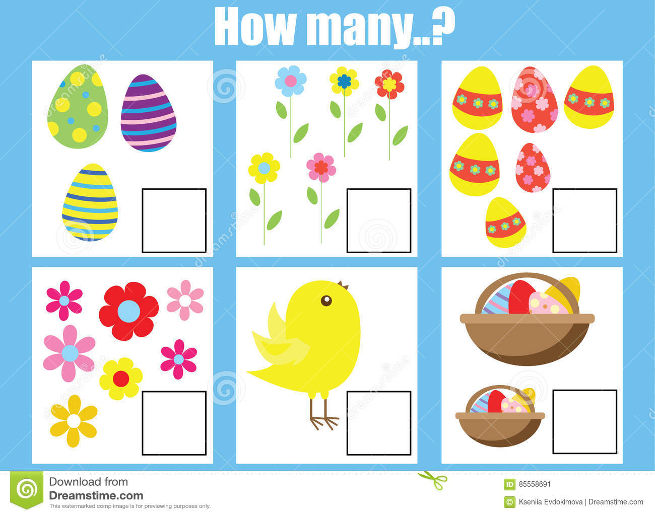 Counting Educational Children Game Kids Activity Worksheet How Many Objects Task Stock