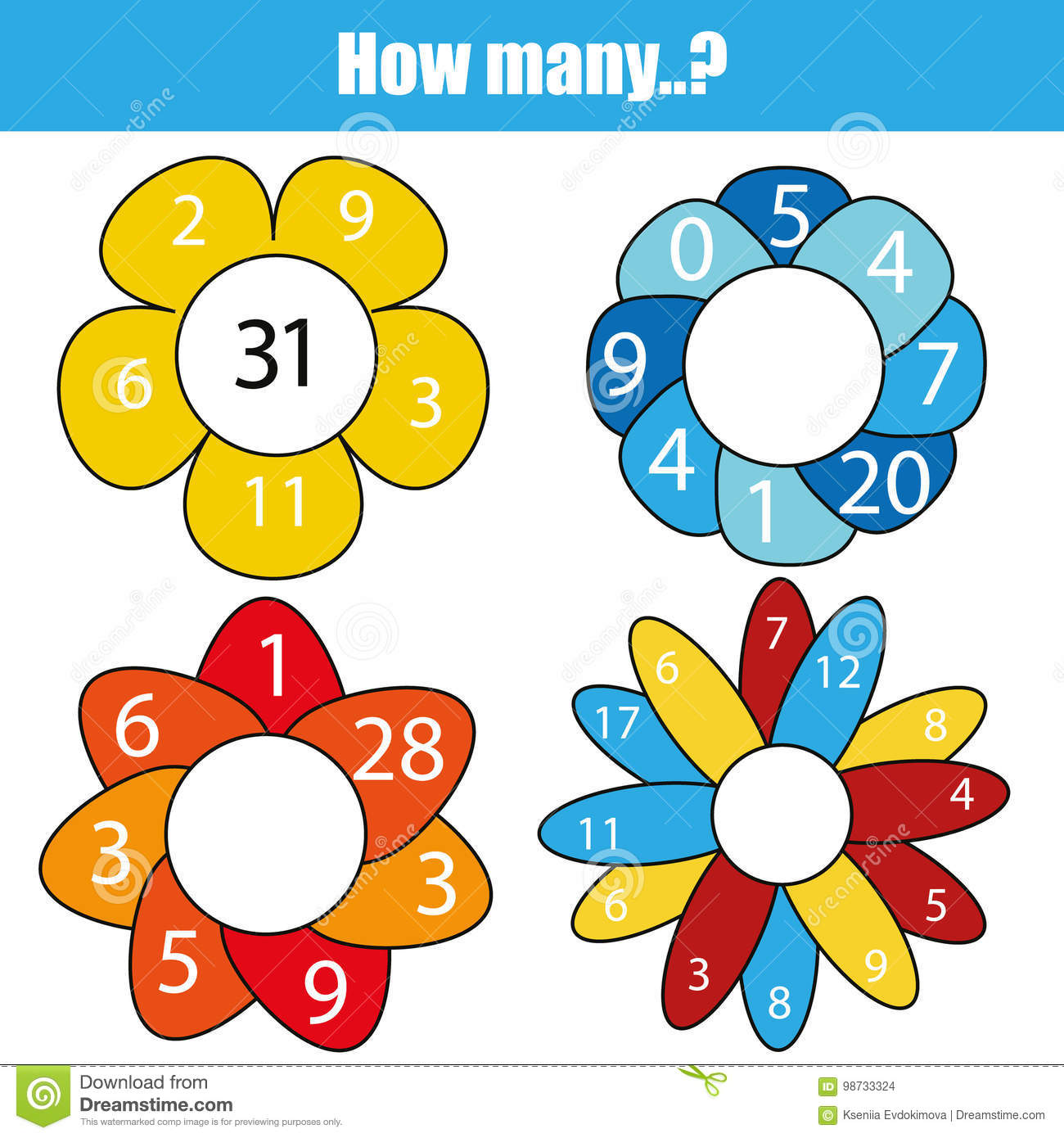 Counting Educational Children Game Kids Activity Worksheet How Many Objects Task Mathematics