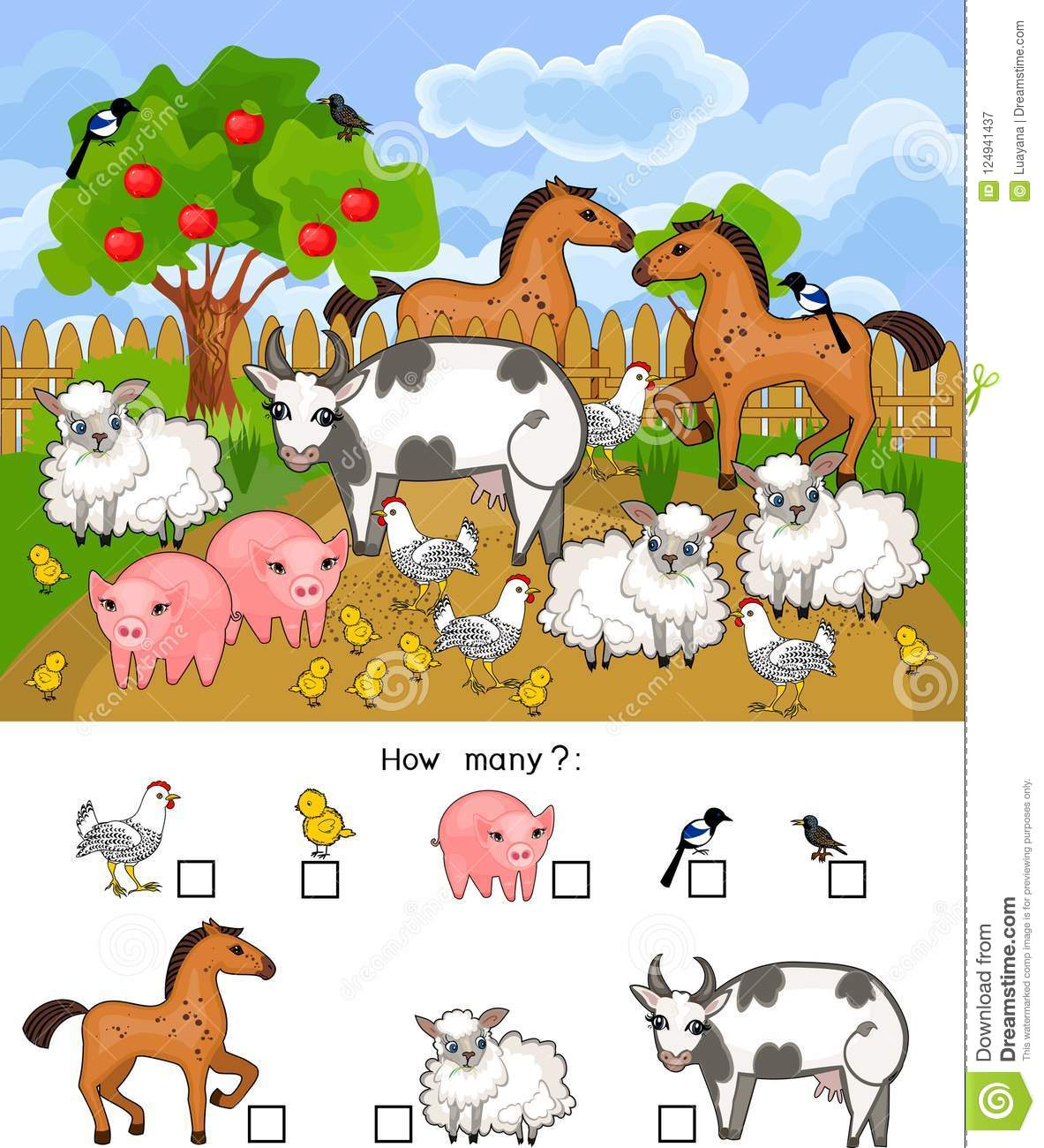 How Many Animals Counting Educational Game With Different