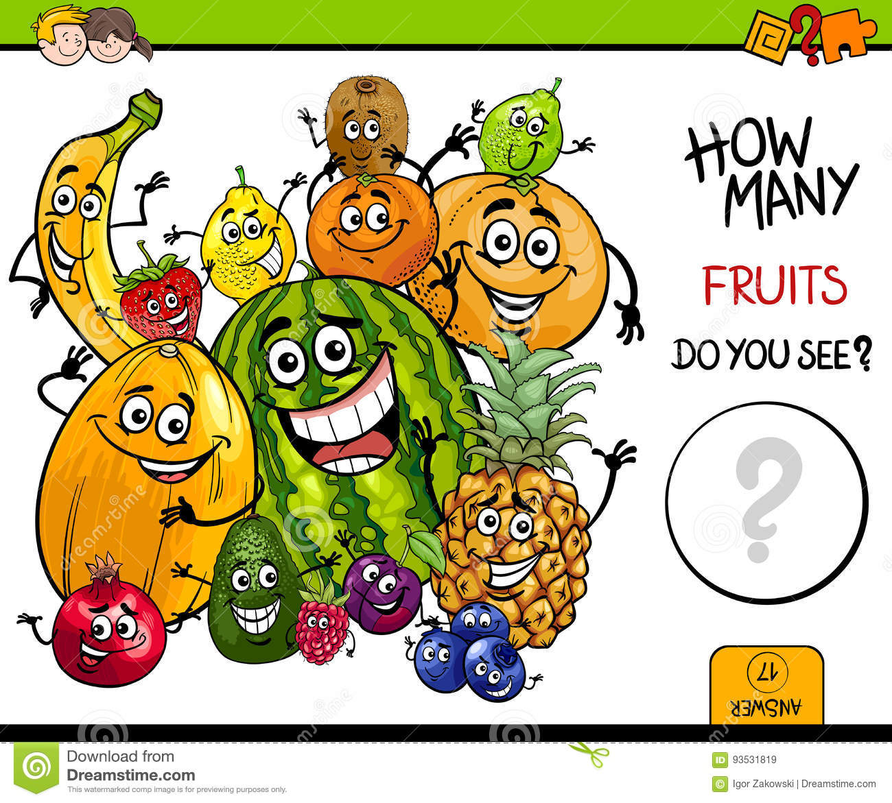 Counting Fruits Educational Game Stock Vector