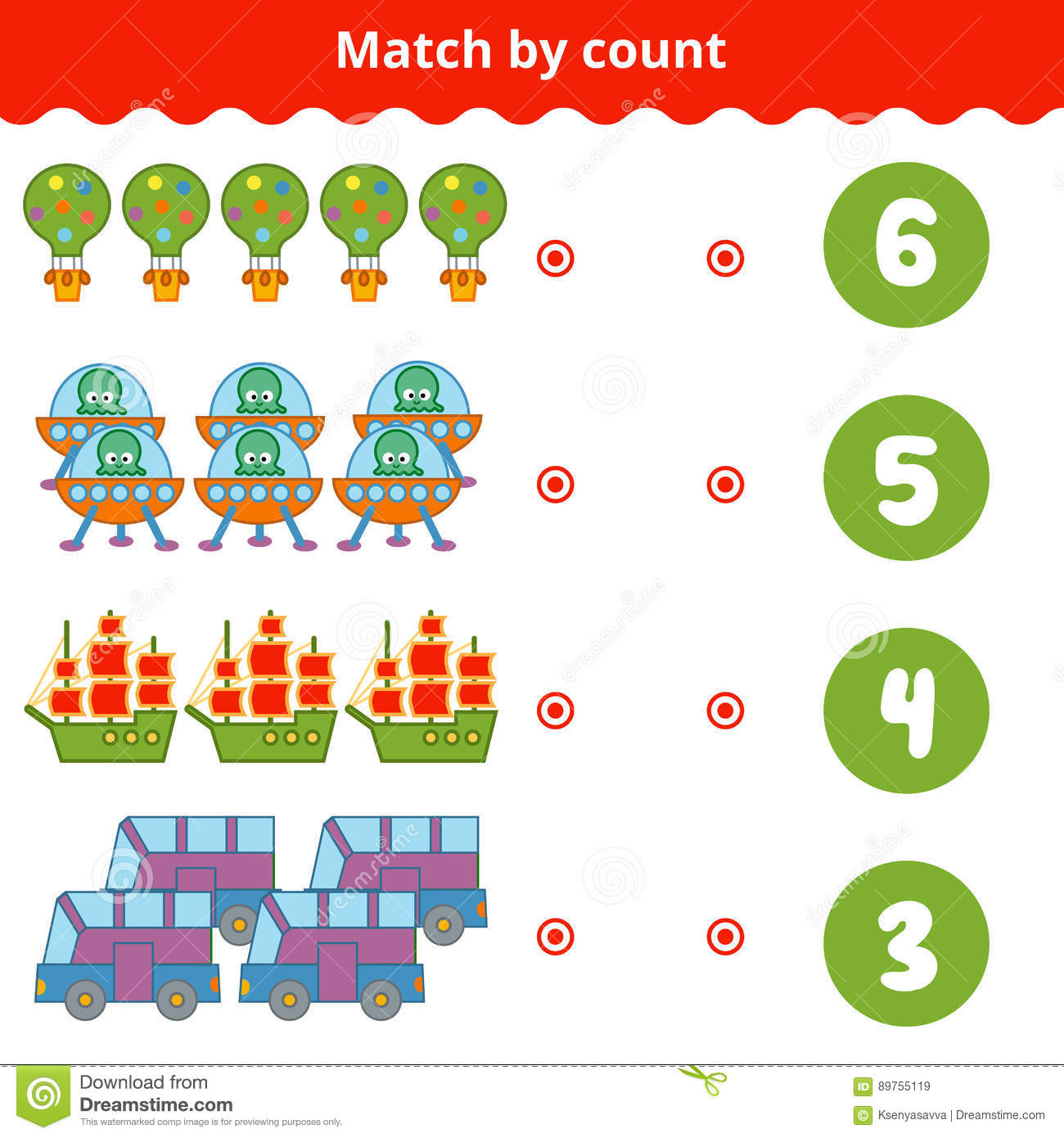 Counting Game For Children Count The Items In The Picture