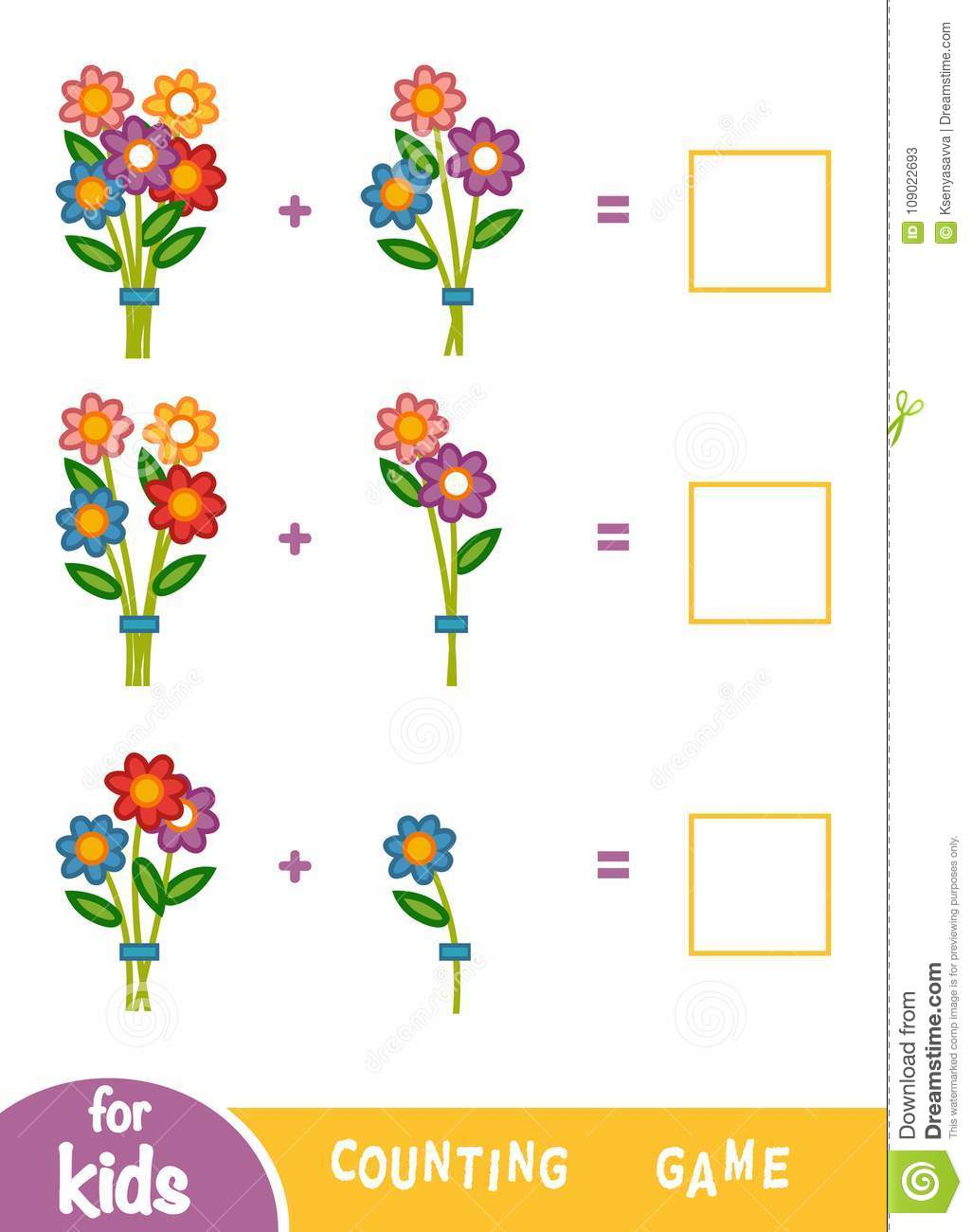 Counting Game For Children Count The Number Of Flowers