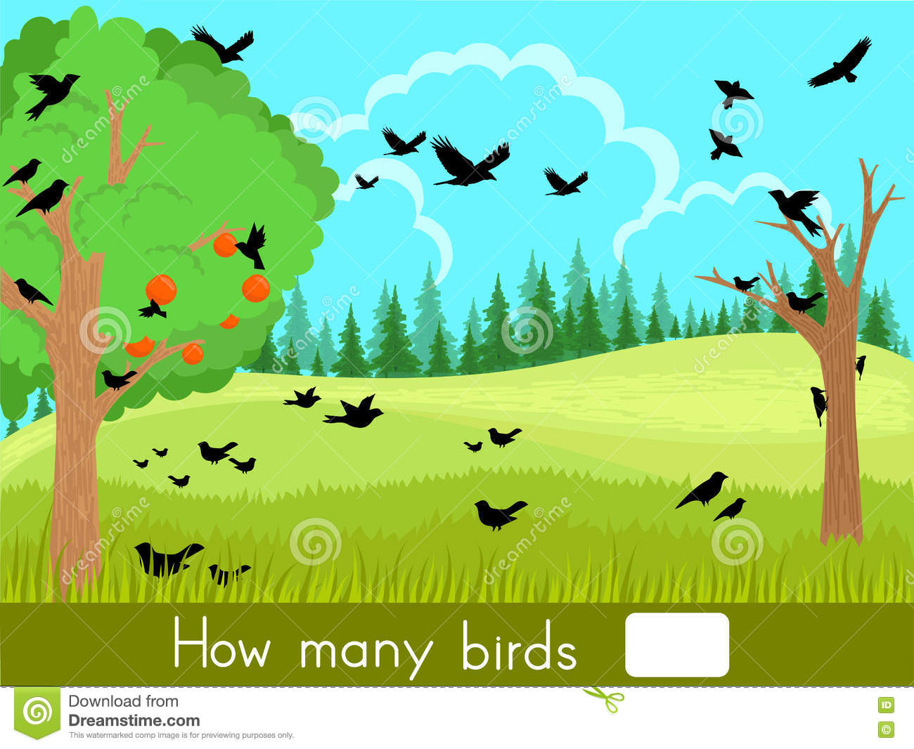 Counting Game How Many Birds Stock Vector