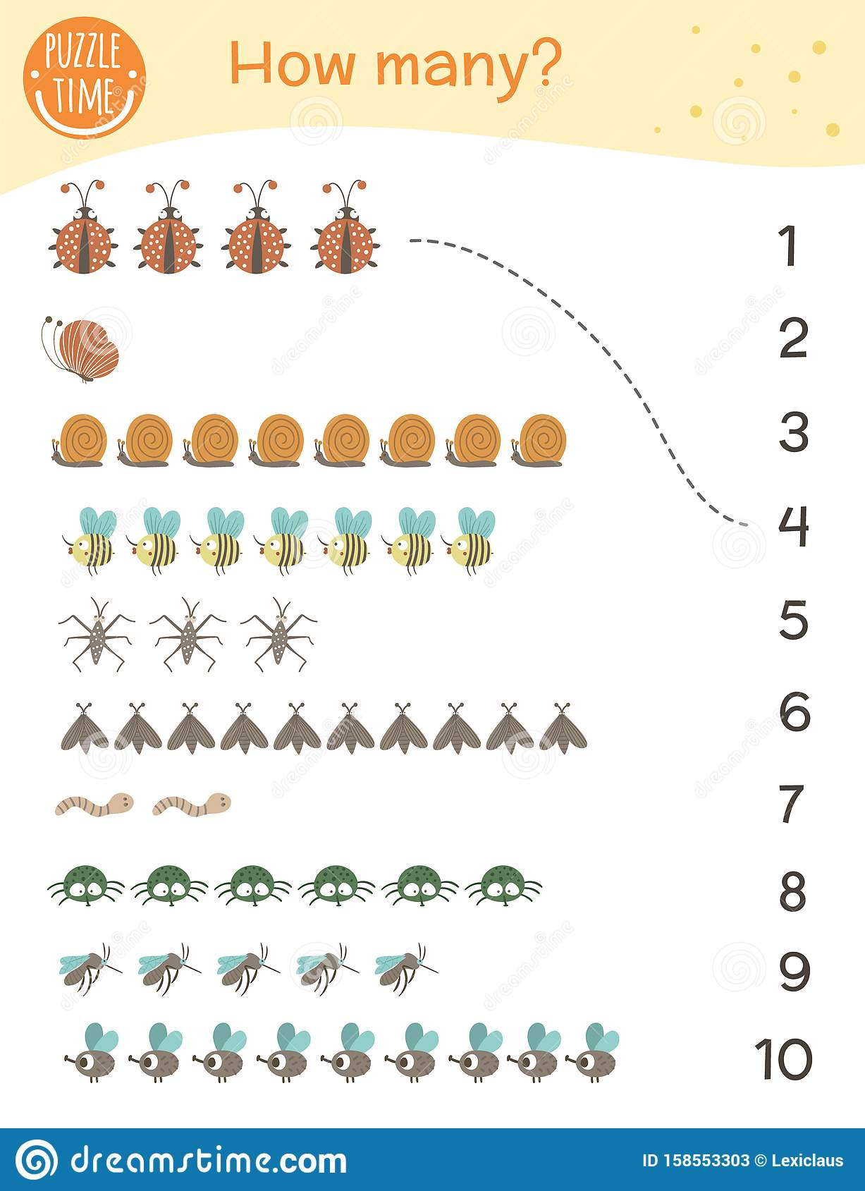 Counting Game With Insects Math Activity For Preschool