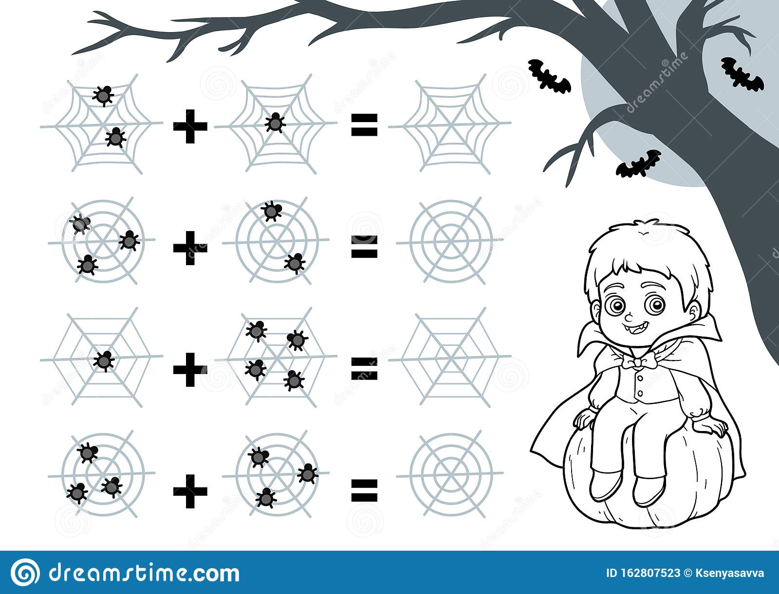 Counting Game For Preschool Children Halloween Characters
