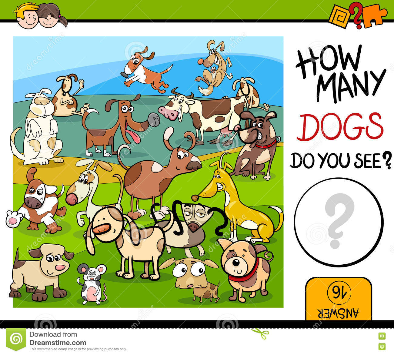 Counting Game With Spotted Dogs Stock Vector
