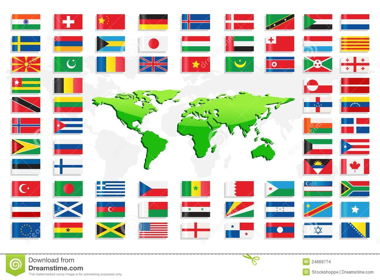 Country Flags With World Map Stock Images - Image: 24669774