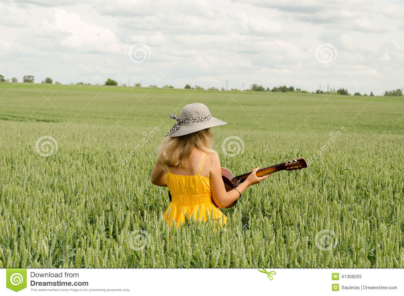 Country Girl In Dress Play Guitar Wheat Field Stock Image