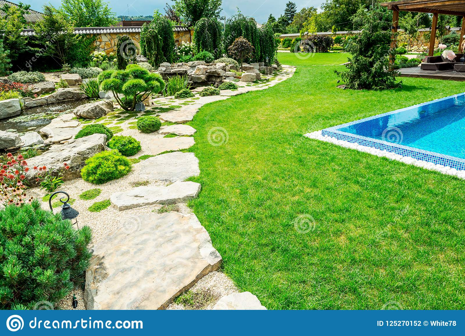 A Country House With A Beautiful Backyard Behind The House ... on Beautiful Backyard Landscaping  id=95243