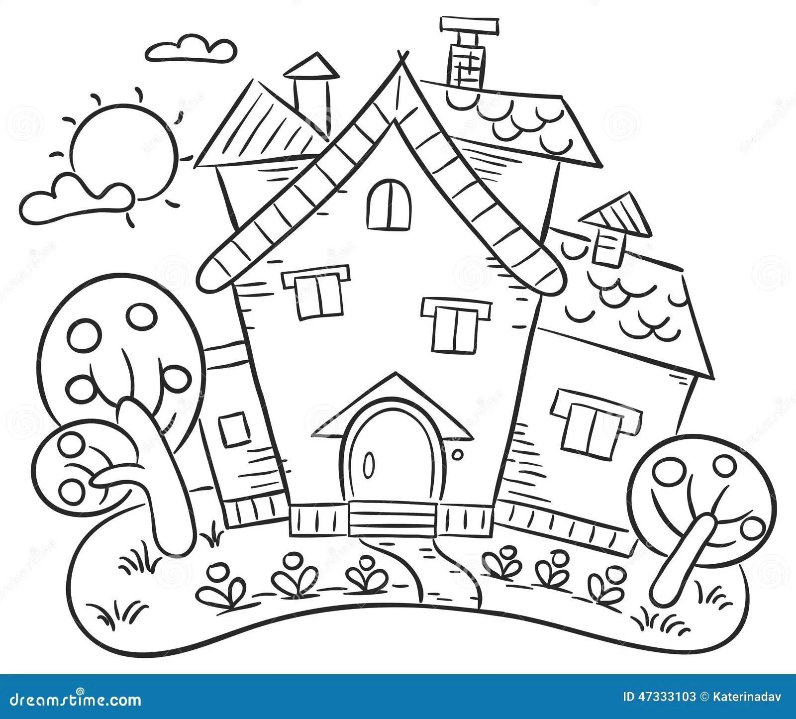 Countryside House With A Garden Stock Vector