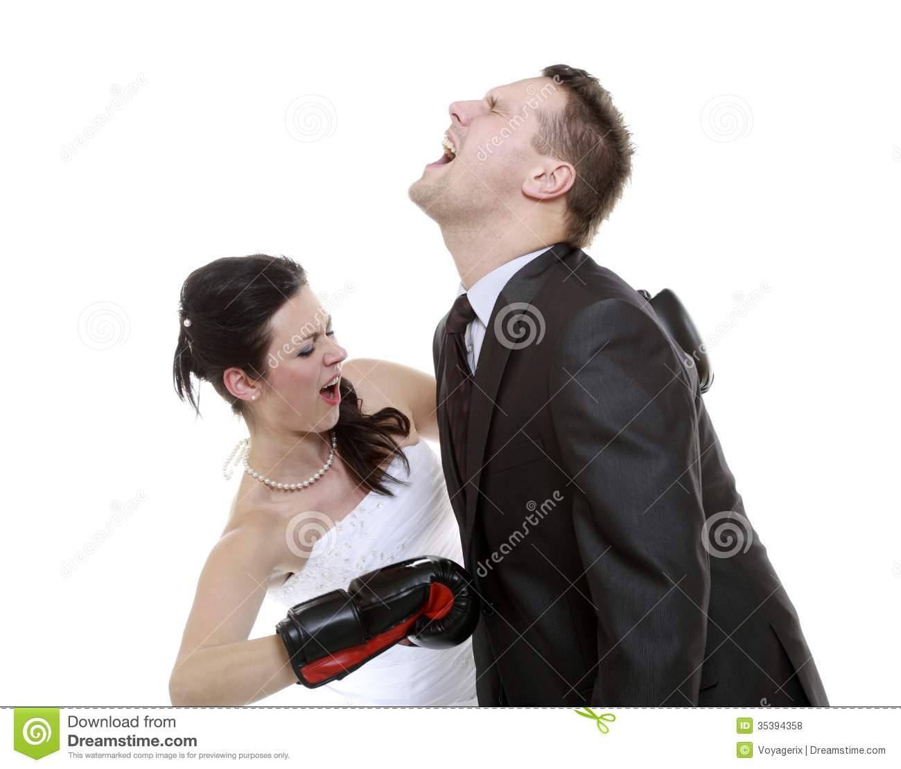 Couple Expressive Fighting Angry Wife Boxing Husband