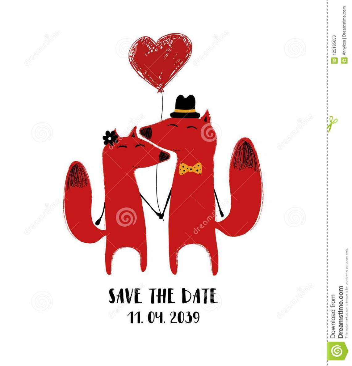 Download Cute Couple Of Foxes With Balloon. Stock Vector ...