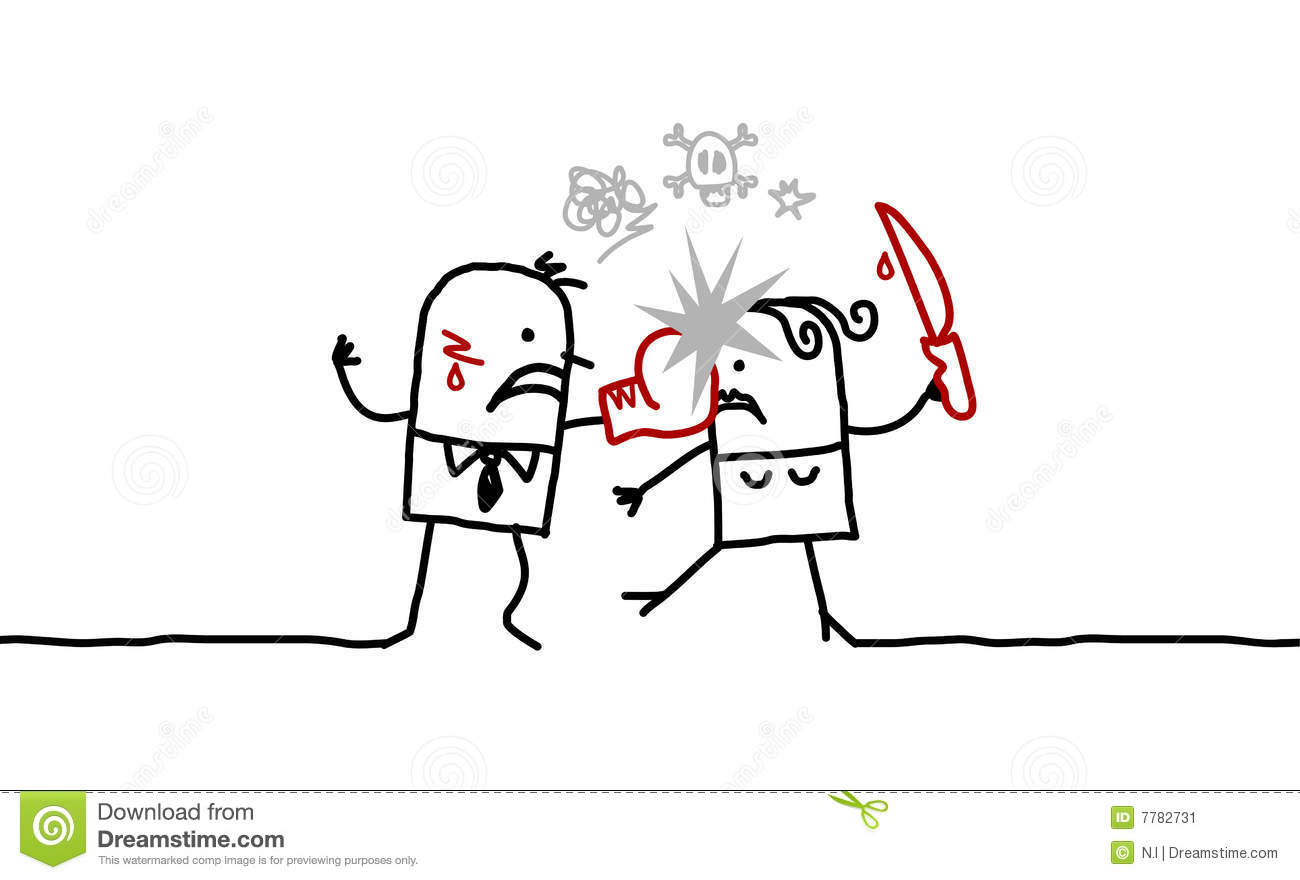 Couple Amp Violence Stock Vector Illustration Of Funny