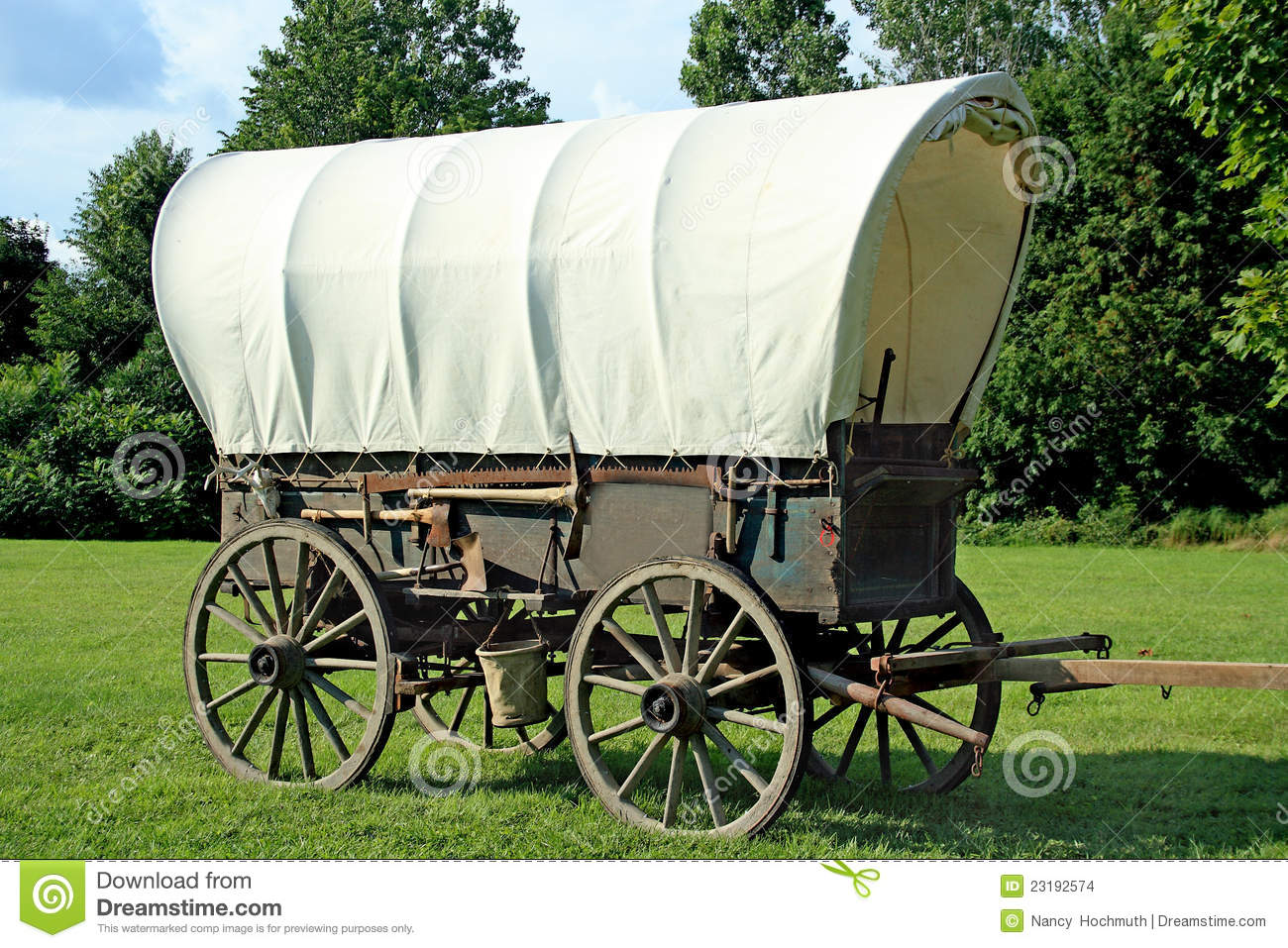 Covered Wagon Stock Photo Image Of Antlers Rustic