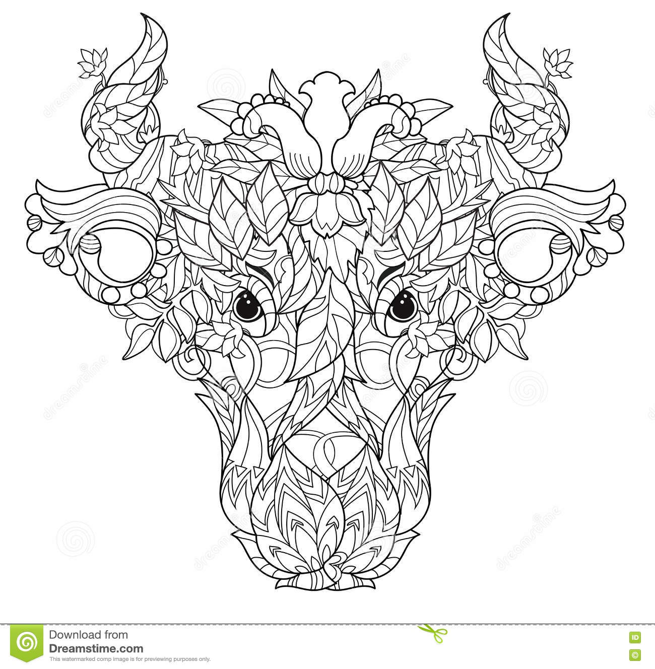 Cow Head Doodle On White Background Stock Vector