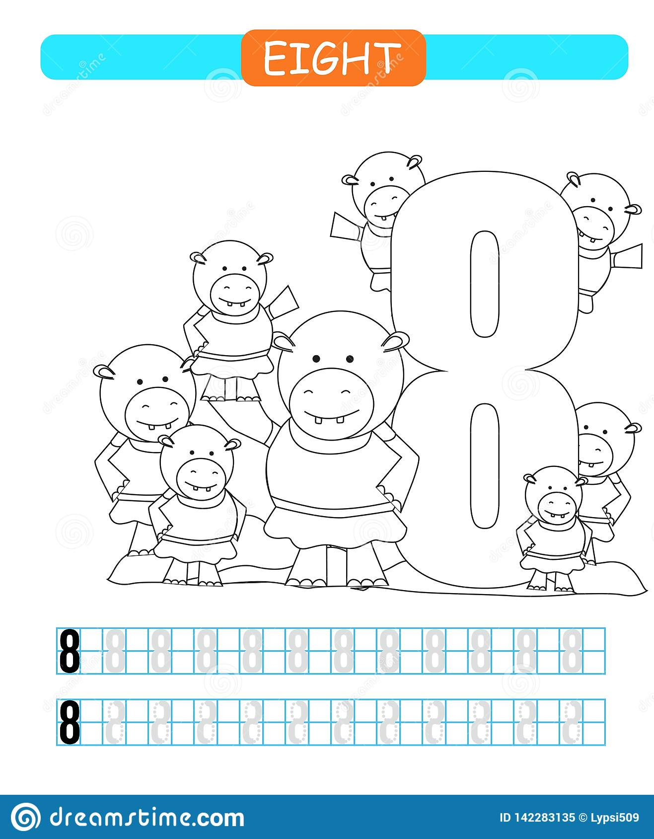 Eight Learning Number 8 Coloring Printable Worksheet For