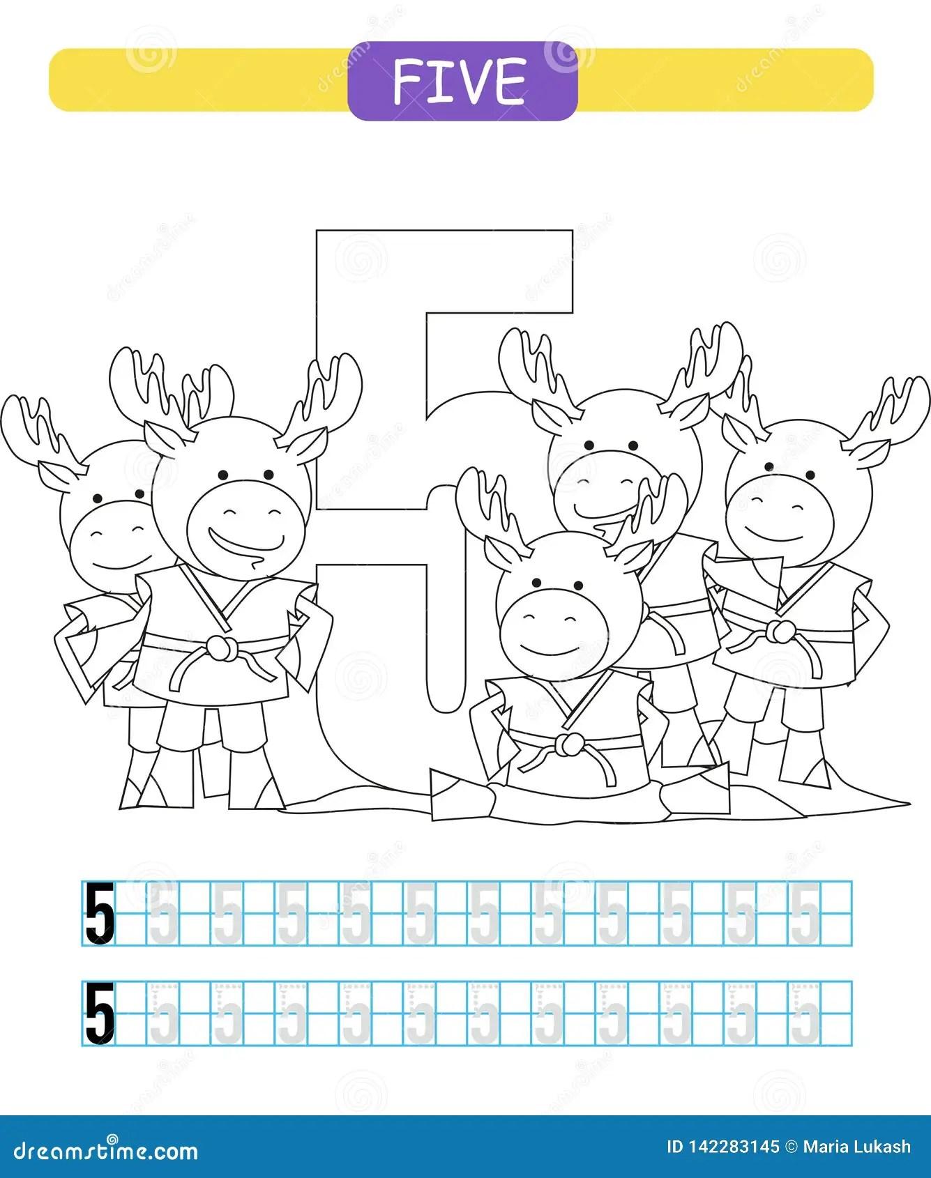 Five Learning Number 5 Coloring Printable Worksheet For