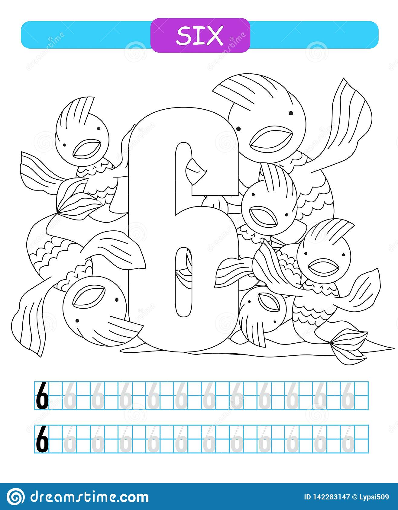 Six Learning Number 6 Coloring Printable Worksheet For
