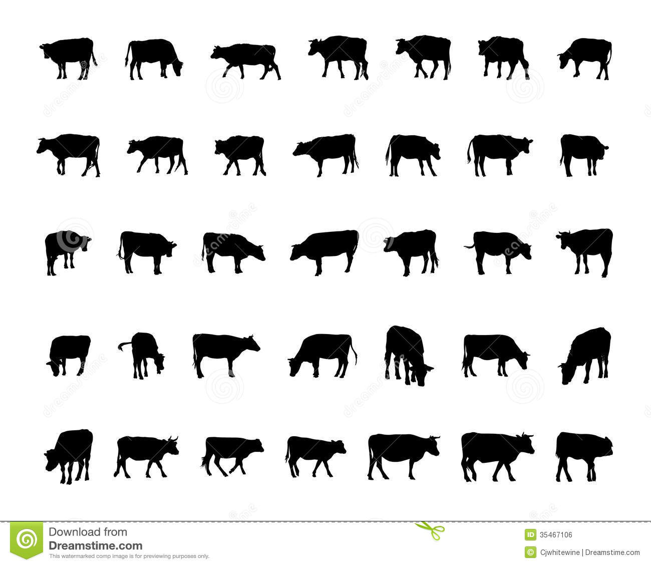 Cow Silhouettes Stock Vector Illustration Of Farm Calf