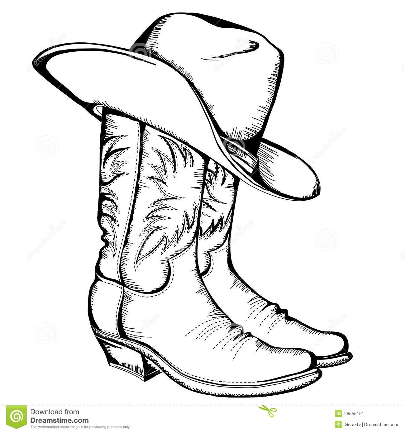 Cowboy Boots And Hat Stock Vector Illustration Of Boots