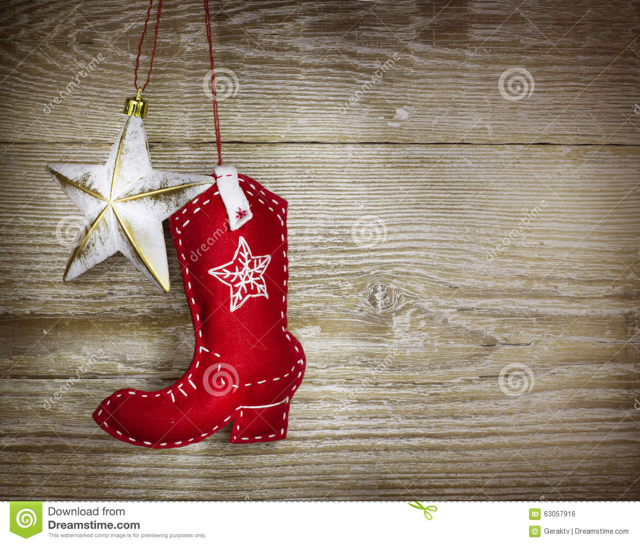 Cowboy Christmas Background On Wood Texture Stock Photo