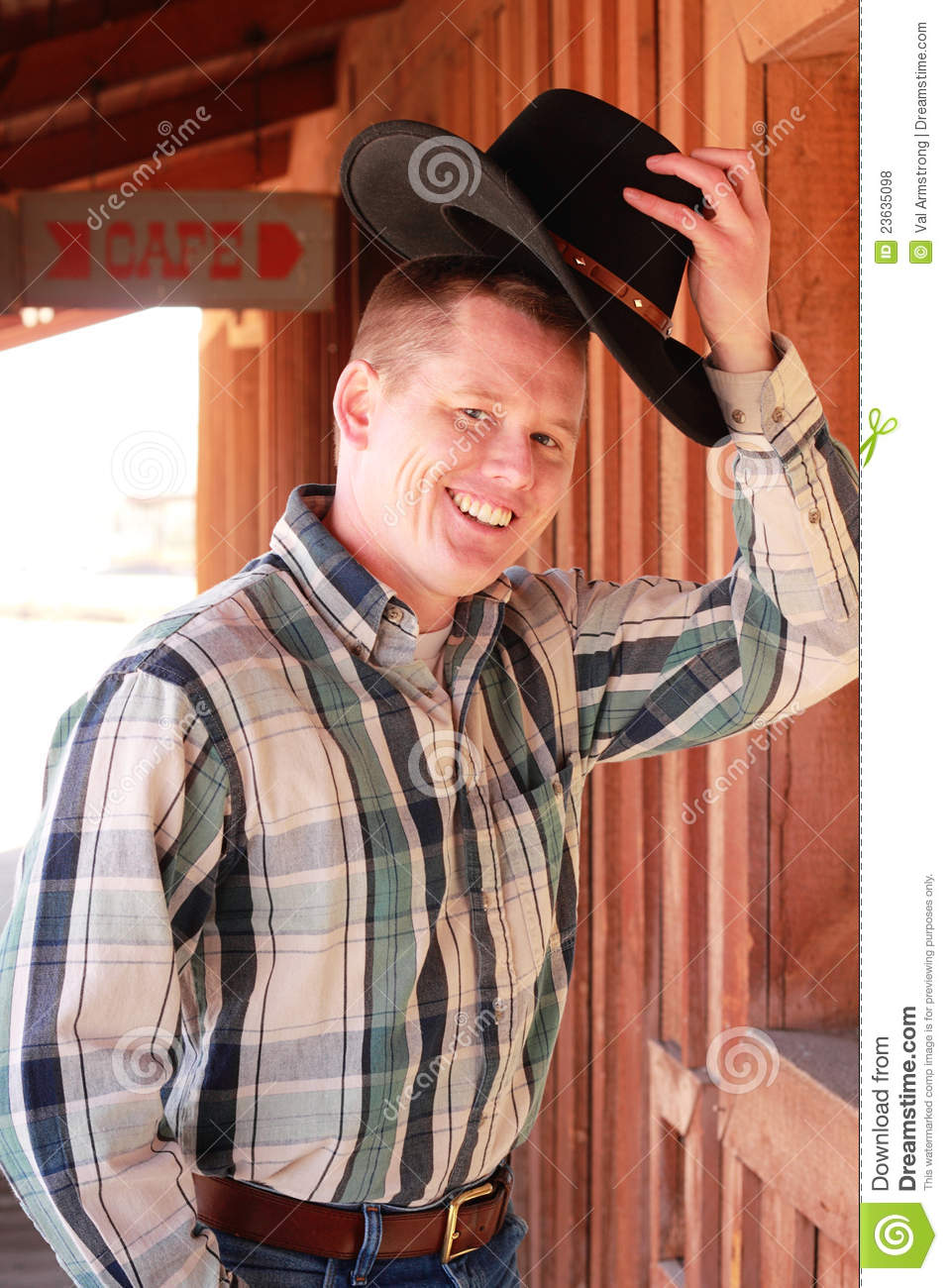 Cowboy Greeting Raise Of The Cowboy Hat Royalty Free Stock Photos Image 23635098