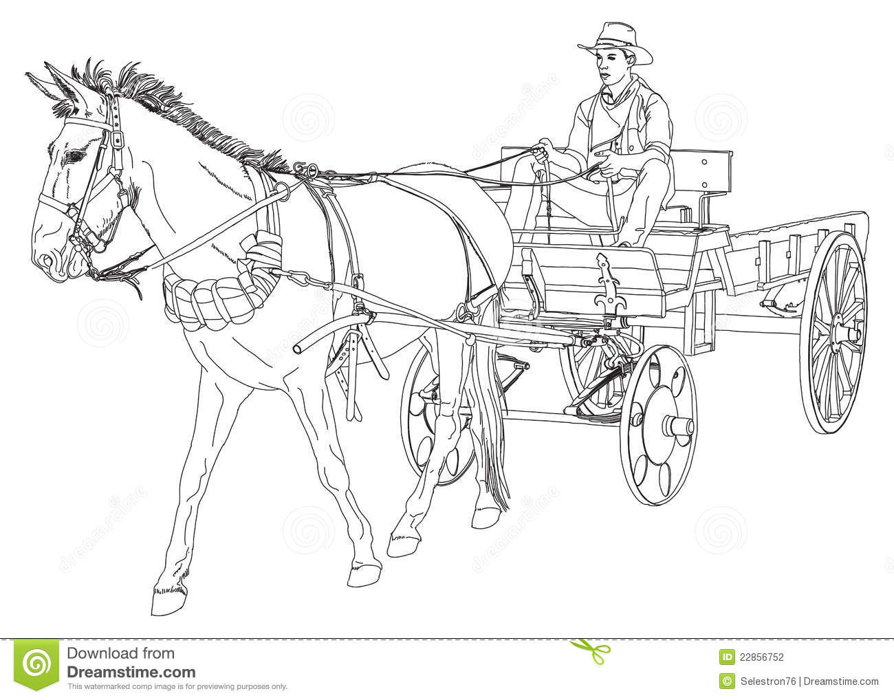 Cowboy Rides In A Wagon Pulled By A Horse Stock Vector