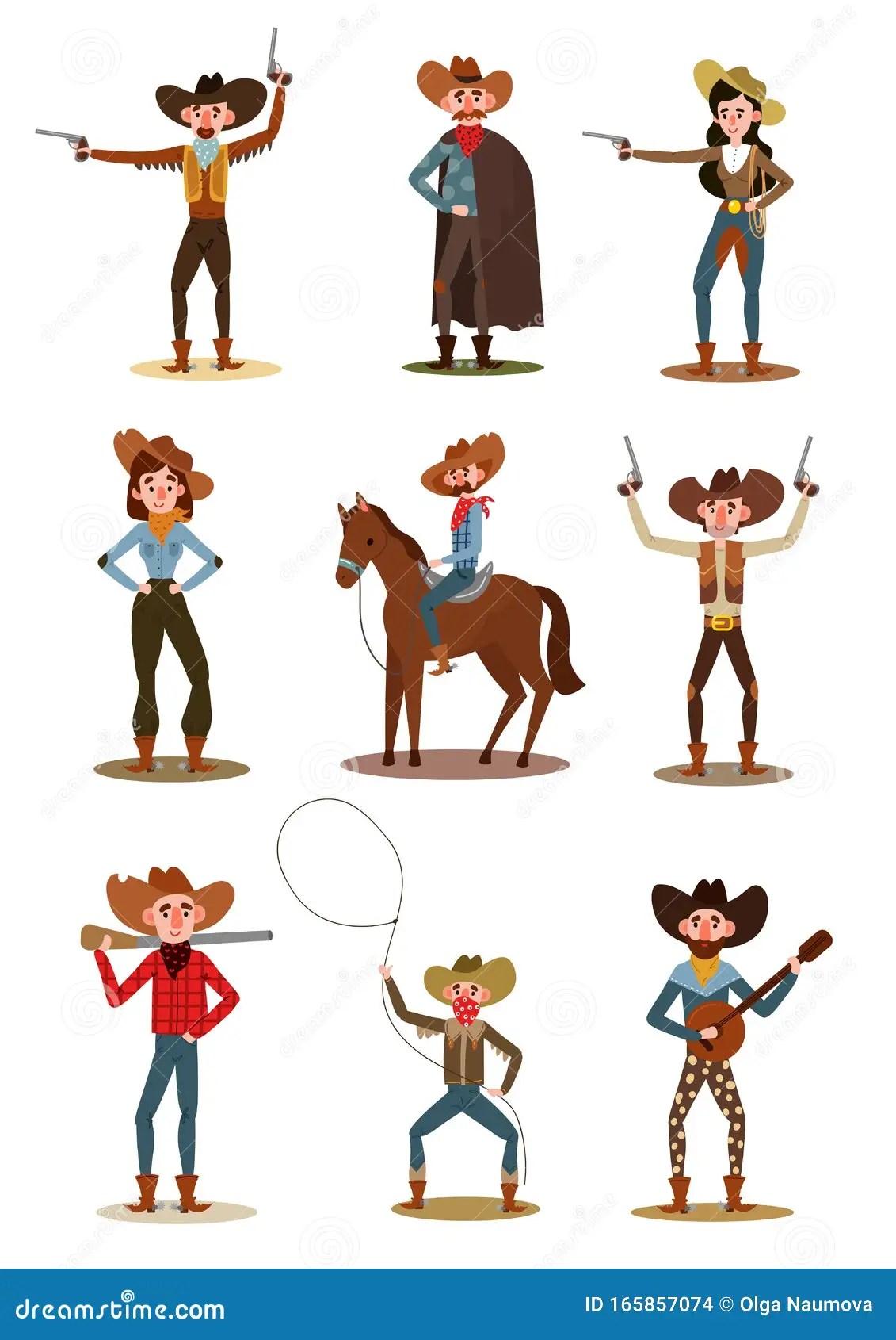 Cowboys Und Cowgirls In Verschiedenen Posen Vector