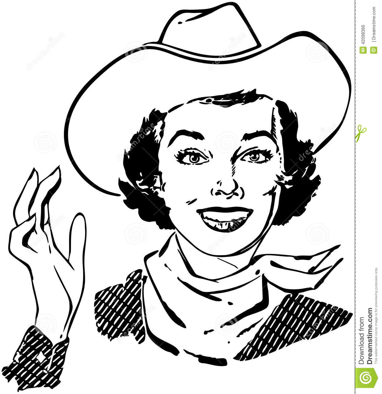 Cowgirl Waving Stock Vector Illustration Of
