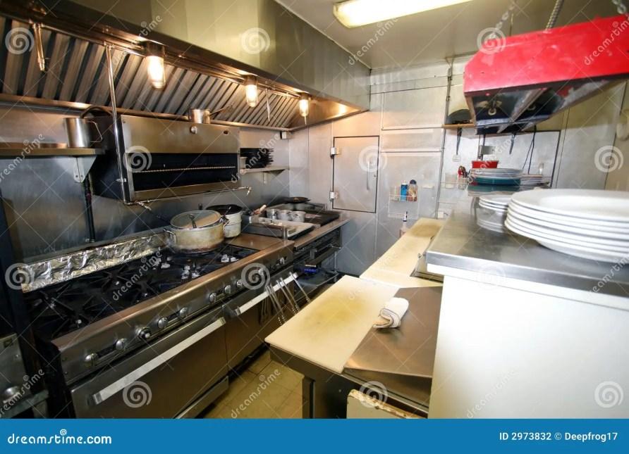 Cozinha Pequena Em Um Restaurante Foto de Stock - Imagem ...