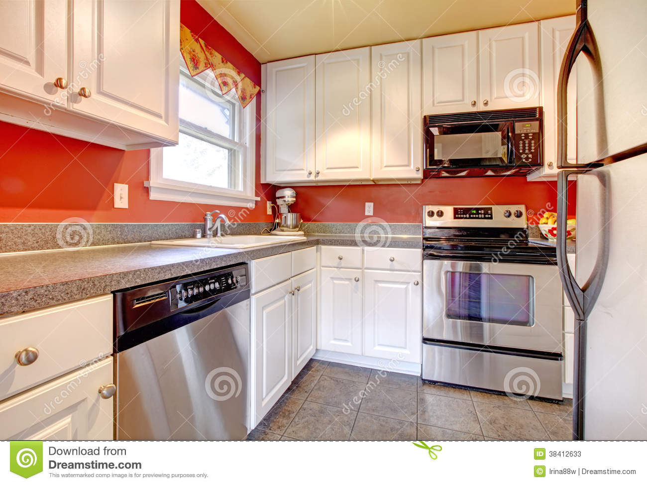 Cozy Kitchen Room With Red Wall And White Cabinets Stock Image Image Of Clean Steel 38412633