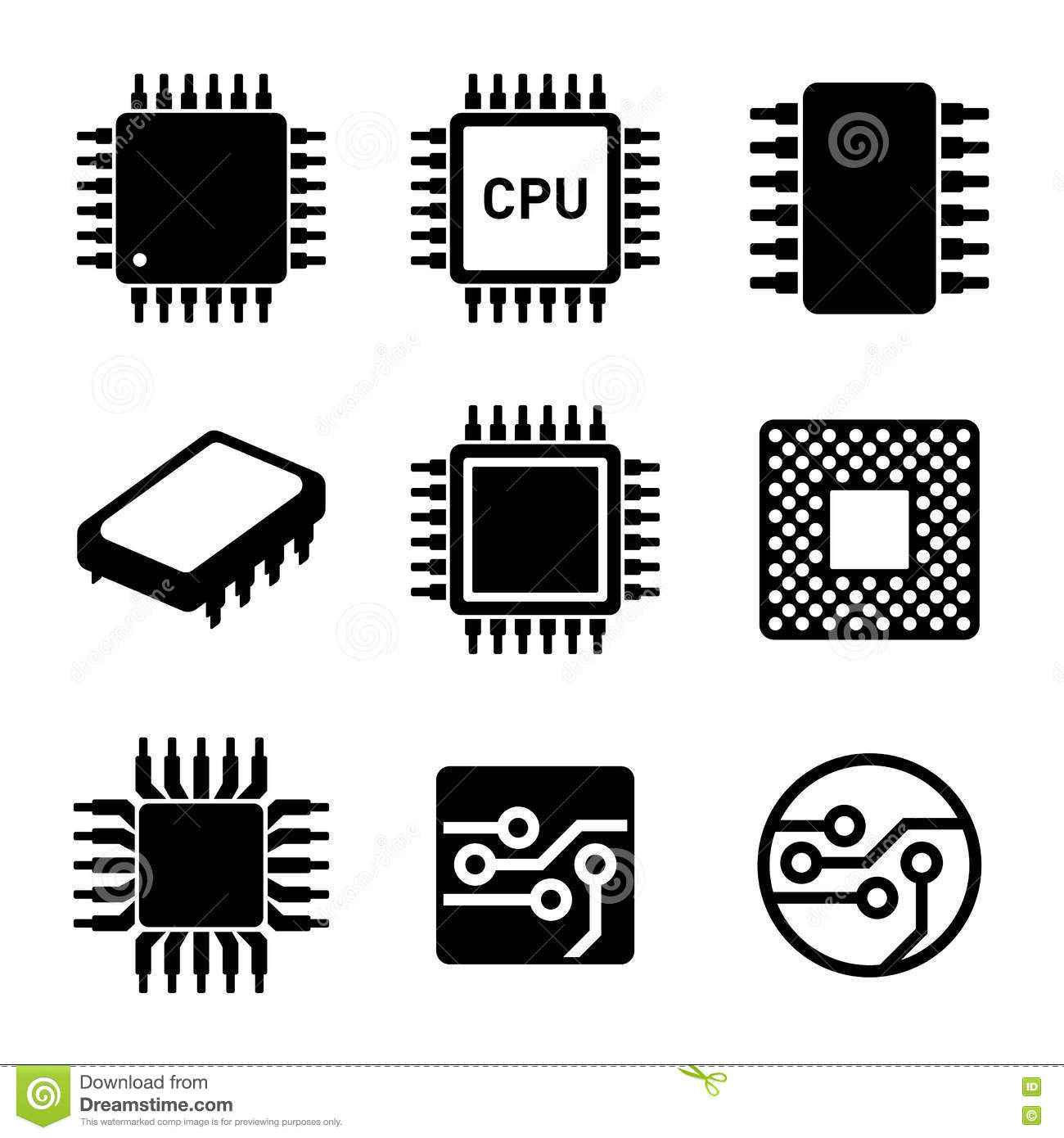 Cpu Microprocessor And Chips Icons Set Vector Stock