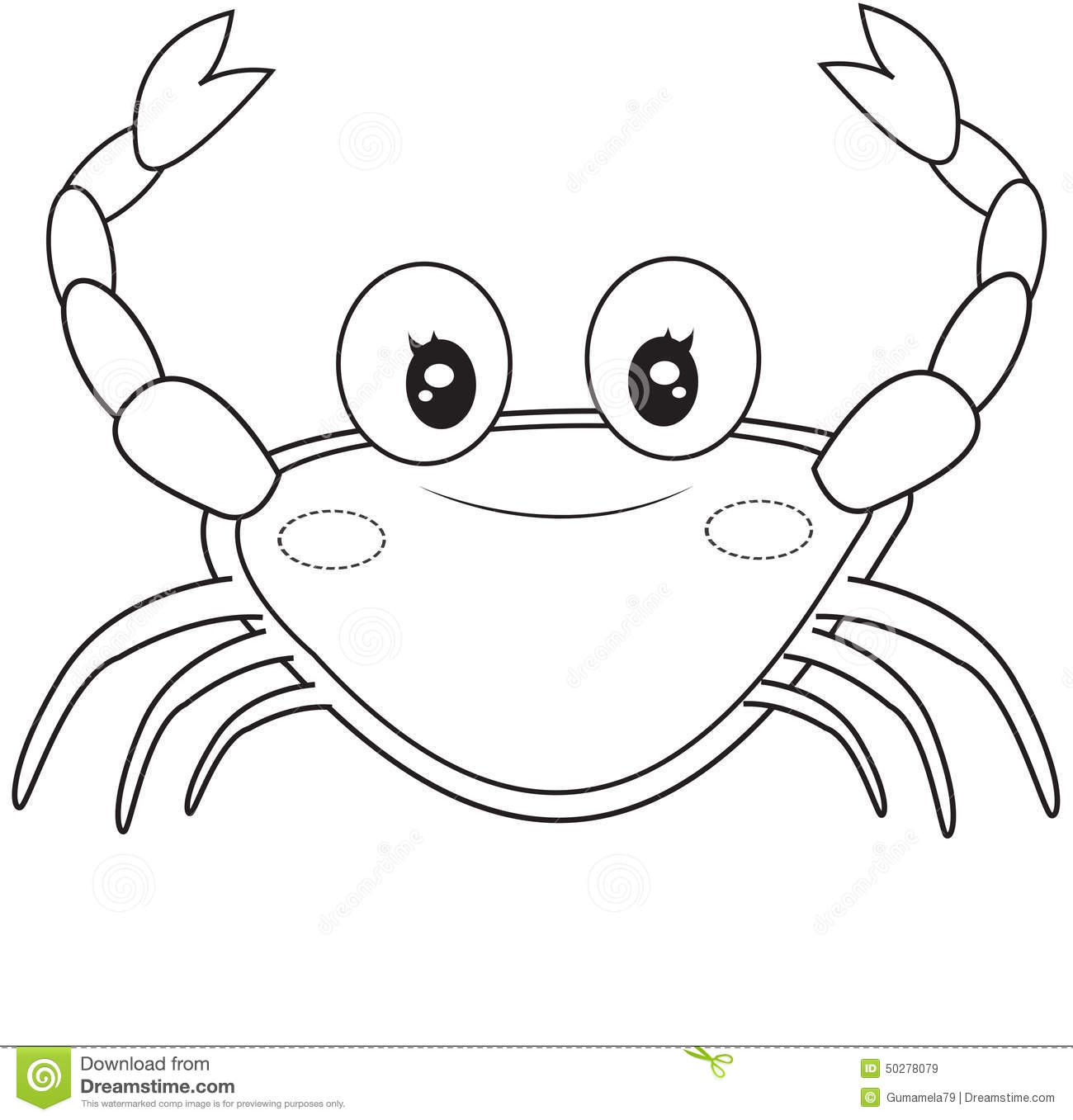 Crab Coloring Page Stock Illustration