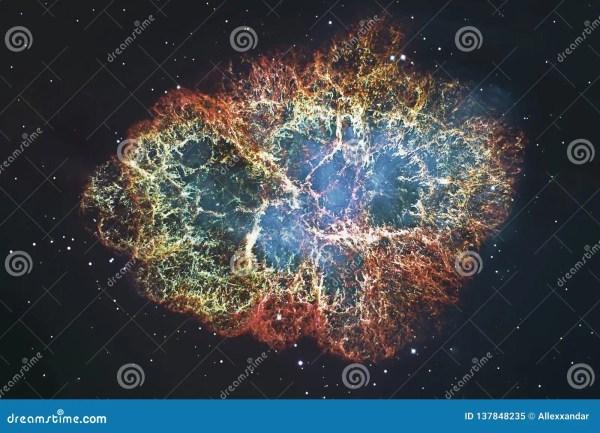 Crab Nebula In Constellation Taurus. Supernova Core Pulsar ...