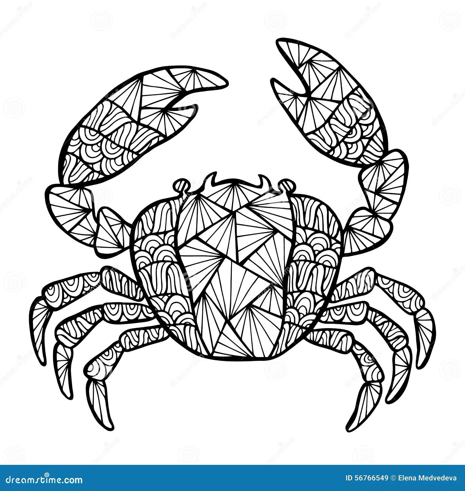 Crabe Stylise De Vecteur Zentangle Illustration De