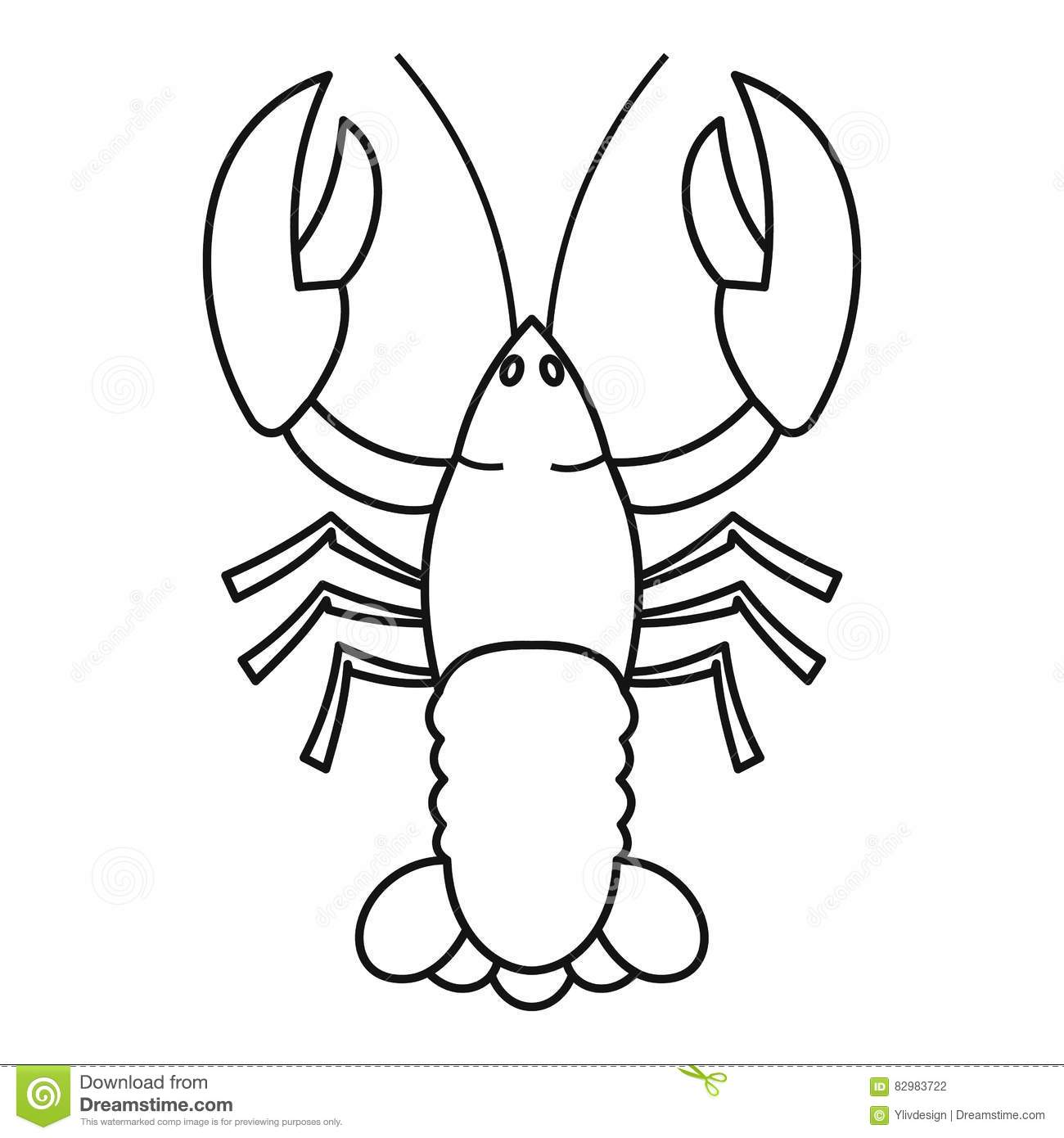 Crayfish Icon Outline Style Stock Vector