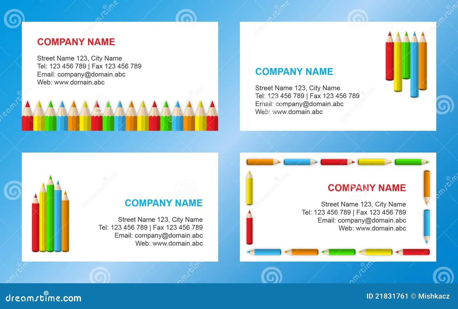 Crayons Business Card Template Stock Image