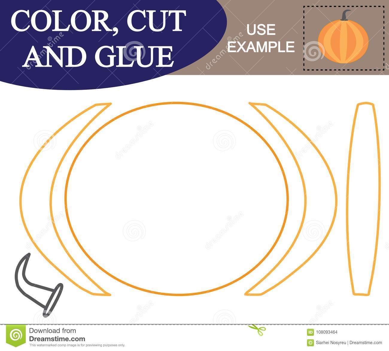 Create The Image Of Pumpkin Worksheet Color Cut And