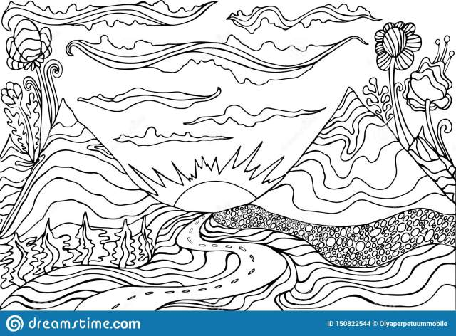 Creative Coloring Page Fantasy with a Mountain Landscape,clouds