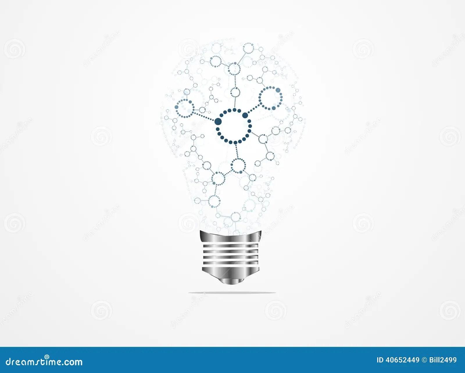 Creative Light Bulb Idea Molecules Stock Illustration