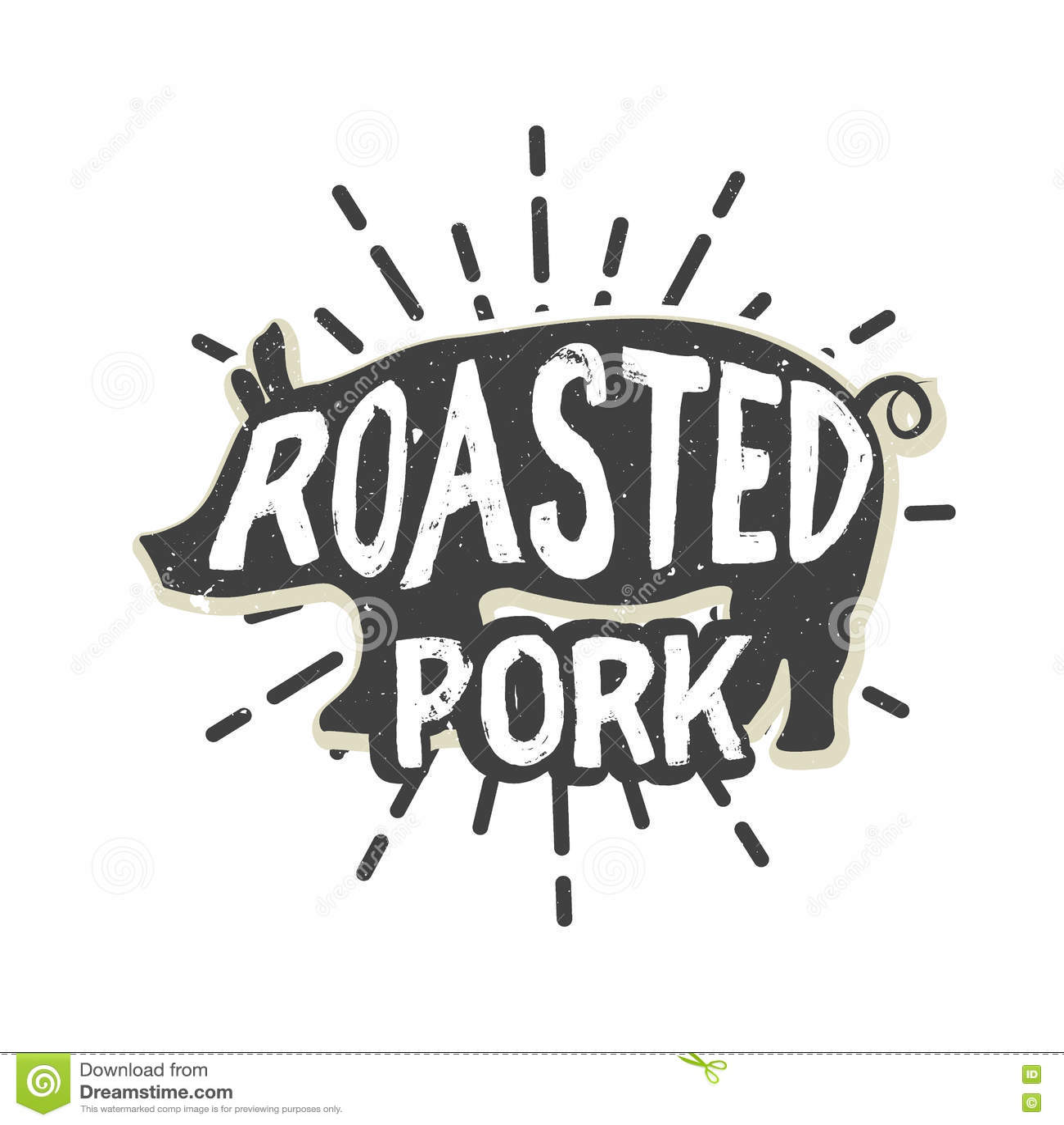 Creative Logo Design With Pork Vector Illustration Stock