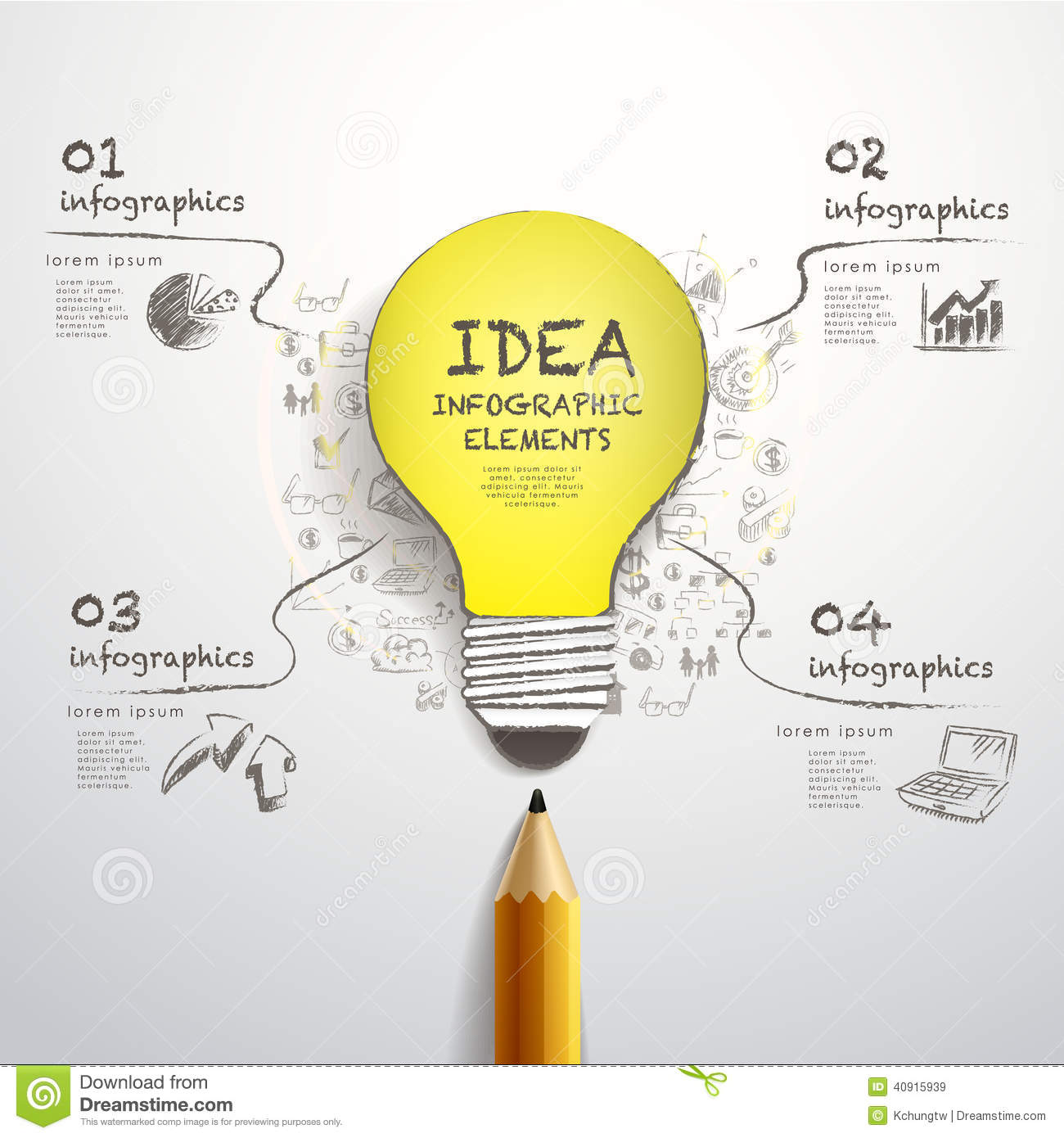 Creative Pencil And Hand Draw Paper Cut Bulb Infographics