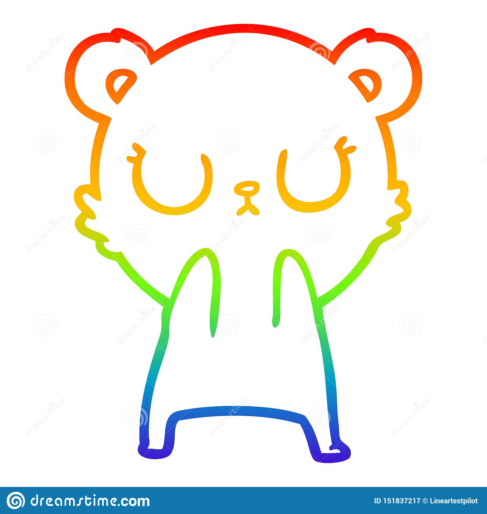 A Creative Rainbow Gra Nt Line Drawing Peaceful Cartoon