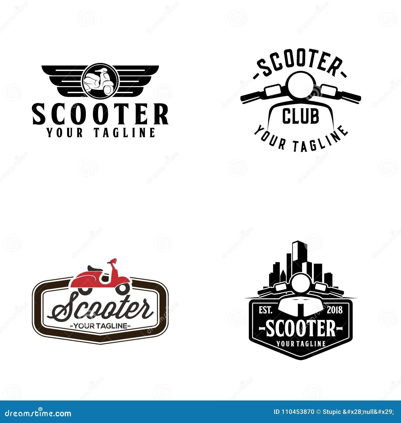 Scooter Club Badge Or Emblem Cartoon Vector