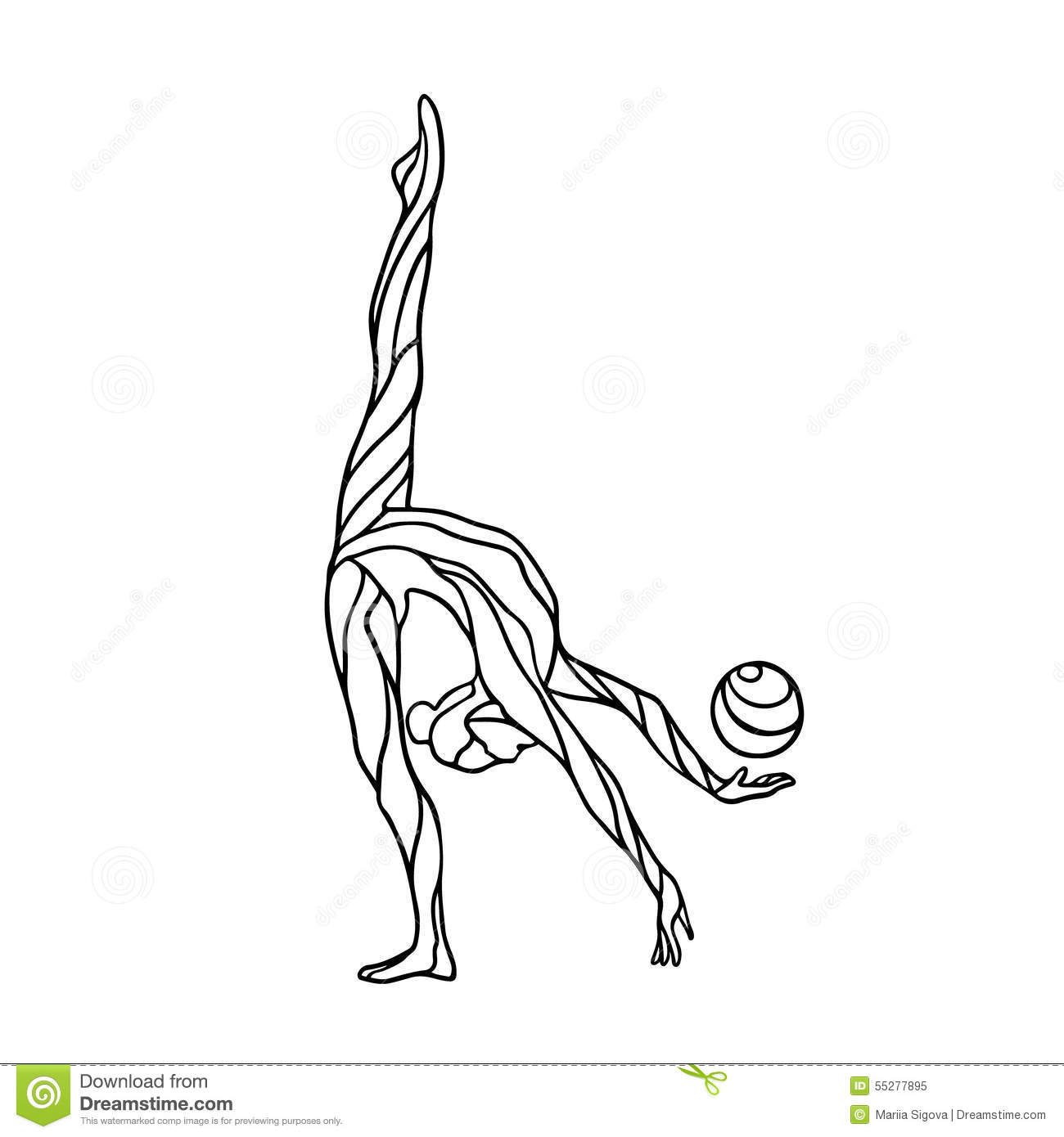 Silhouette Girl Gymnast With The Ball Vector Illustration