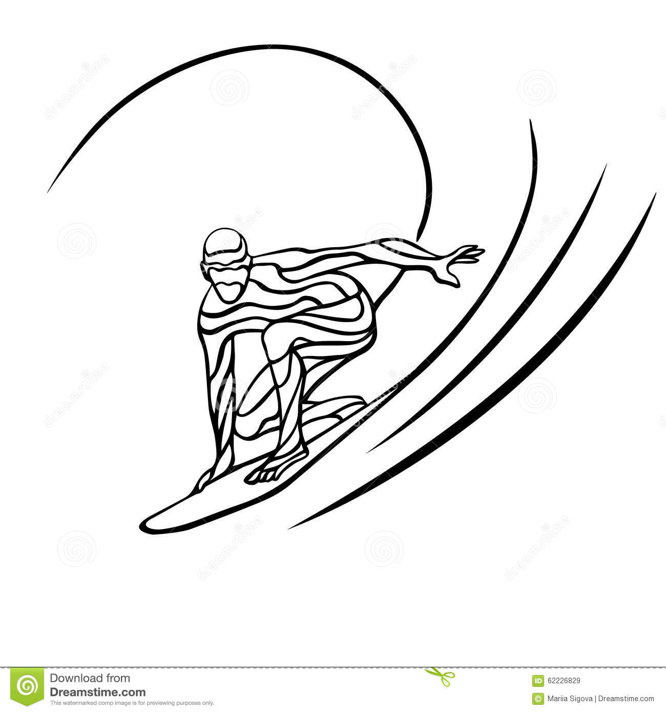 Creative Waves Silhouette Of Surfer Stock Vector