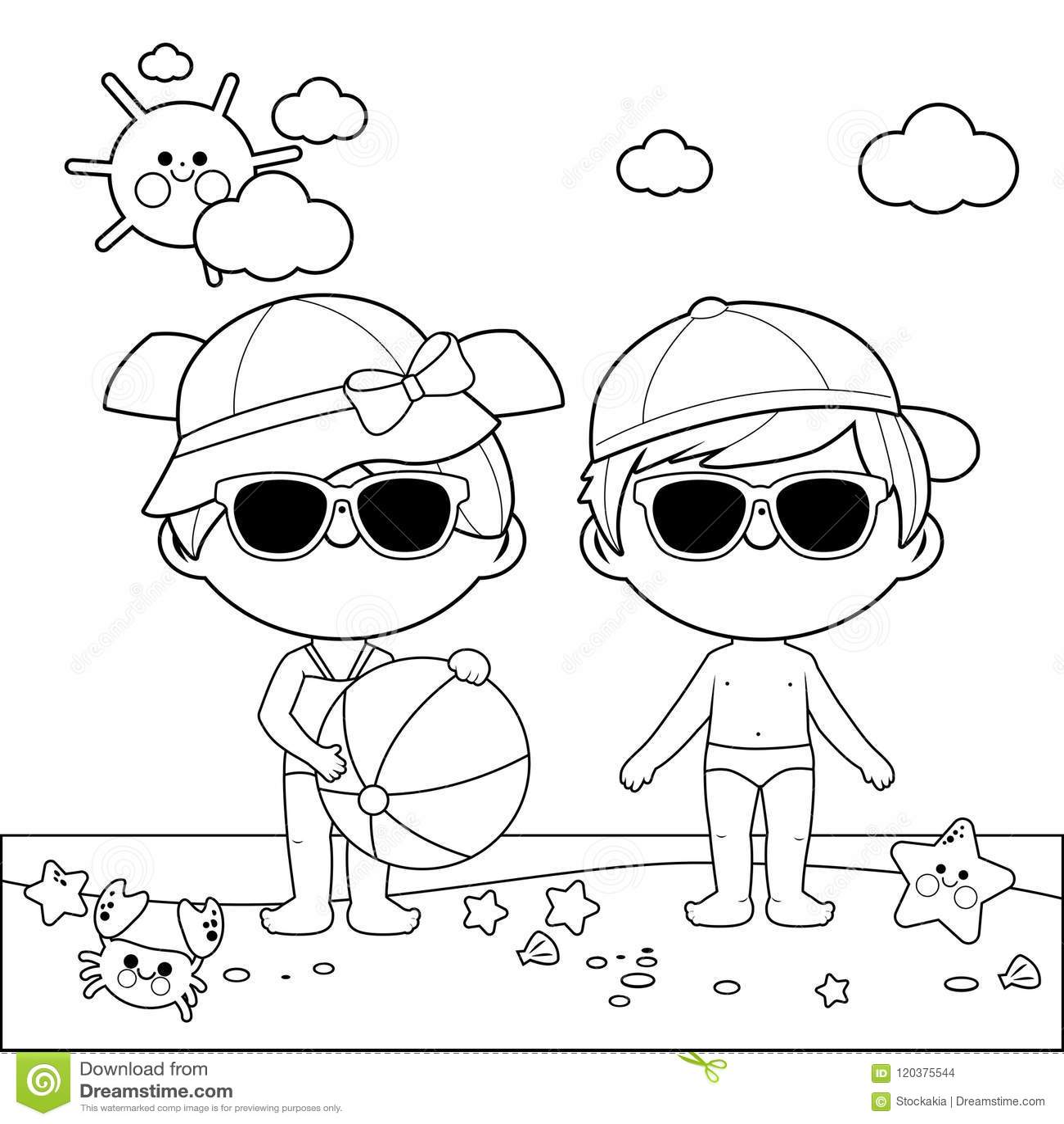 Criancas Na Praia Com Chapeus E Oculos De Sol Pagina Preto