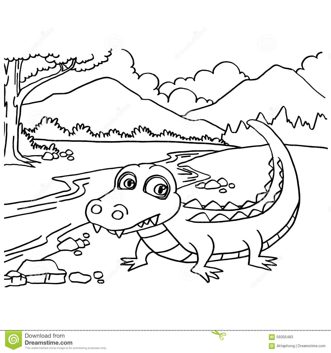 Crocodile Coloring Pages Vector Stock Vector